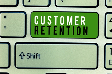 Writing note showing Customer Retention. Business photo showcasing Keeping loyal customers Retain many as possible. Stock Photo