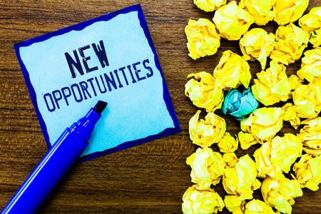 Writing note showing New Opportunities. Business photo showcasing A situation that makes it possible to do something.