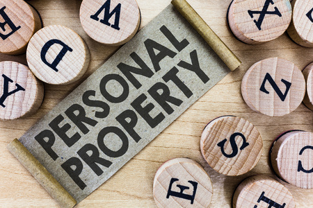 Text sign showing Personal Property. Conceptual photo Things that you own and can take it with you Movable. Stock Photo