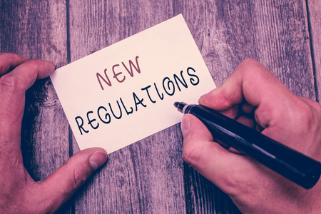 Writing note showing New Regulations. Business photo showcasing Regulation controlling the activity usually used by rules.. Stock Photo