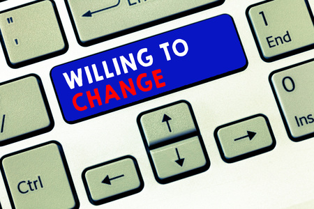 Writing note showing Willing To Change. Business photo showcasing Desire to grow Eager to accept and adopt new ideas.