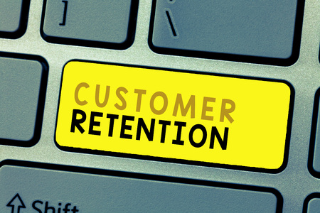 Text sign showing Customer Retention. Conceptual photo Keeping loyal customers Retain many as possible. Stock Photo