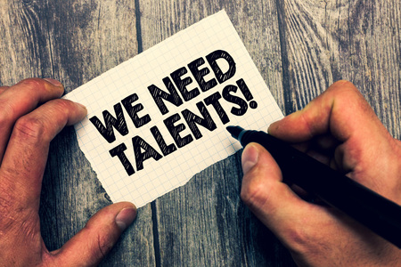 Conceptual hand writing showing We Need Talents. Business photo showcasing seeking for creative recruiters to join company or team. Stock Photo