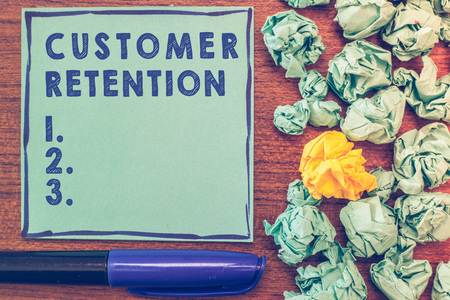 Conceptual hand writing showing Customer Retention. Business photo showcasing Keeping loyal customers Retain many as possible.