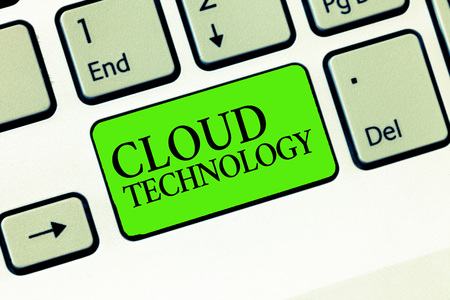 Handwriting text writing Cloud Technology. Concept meaning storing and accessing data and programs over Internet. Stock Photo