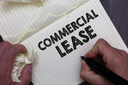 Text sign showing Commercial Lease. Conceptual photo refers to buildings or land intended to generate a profit Man holding marker notebook crumpled papers ripped pages mistakes made Reklamní fotografie