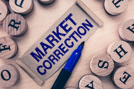 Word writing text Market Correction. Business concept for When prices fall 10 percent from the 52 week high. Stock Photo