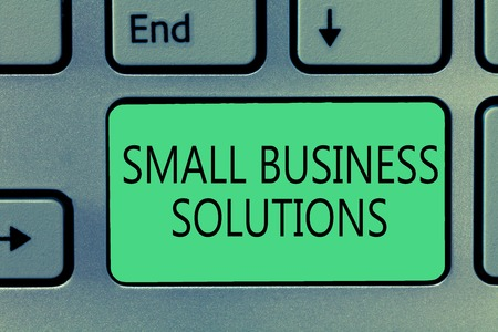 Writing note showing Small Business Solutions. Business photo showcasing a Company to solve Specific Trade problems.