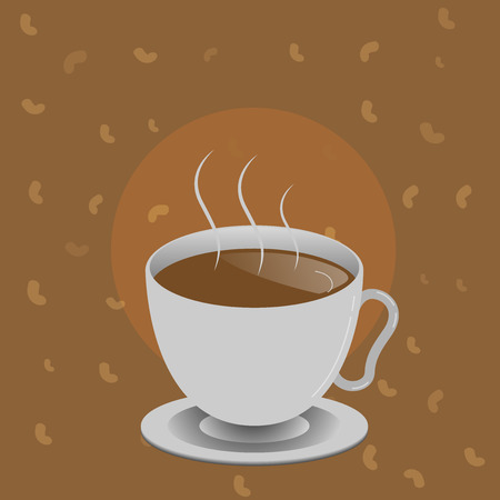 Flat design business Vector Illustration concept template copy space text for Ad website esp isolated 3d isometric. Levitating Cup of Hot Steaming Drink with Saucer Zero Gravity Dishware