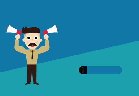 Flat design business Vector Illustration concept Empty template space text For promotion website and advertising Ad. Bearded Man with necktie Raise up Arms Holding Two Megaphone Sideways Vectores