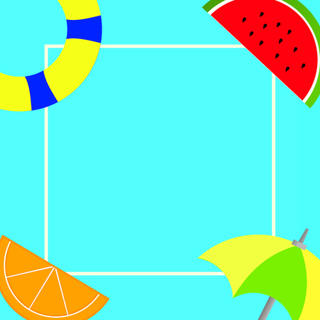 Flat design business Vector Illustration Empty template Layout for invitation greeting card promotion poster voucher. Things related to Summertime Beach items on four corners with center space Illustration