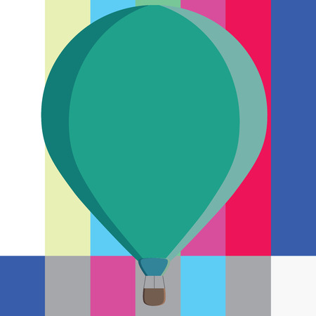 Flat design business Vector Illustration concept template copy space text for Ad website esp isolated 3d isometric. Three toned Color Hot Air Balloon afloat with Basket Tied Hanging under it