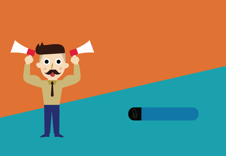 Flat design Vector Illustration Empty esp template copy text for Ad, promotion, poster, flyer, web banner, article. Bearded Man with necktie Raise up Arms Holding Two Megaphone Sideways