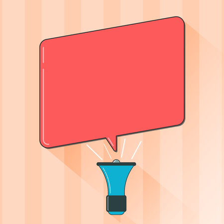 Flat design business Vector Illustration Empty template esp isolated Minimalist graphic layout template for advertising. Megaphone Make Voice Louder Handheld Amplifier and Blank Speech Bubble