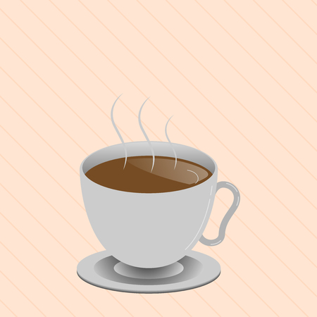 Flat design Vector Illustration Empty esp template copy text for Ad, promotion, poster, flyer, web banner, article. Levitating Cup of Hot Steaming Drink with Saucer Zero Gravity Dishware