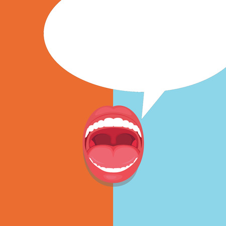Flat design business Vector Illustration concept template copy space text for Ad website esp isolated 3d isometric. Open Mouth Expressive Surprise Gaping Red Lips Teeth Blank Speech Bubble