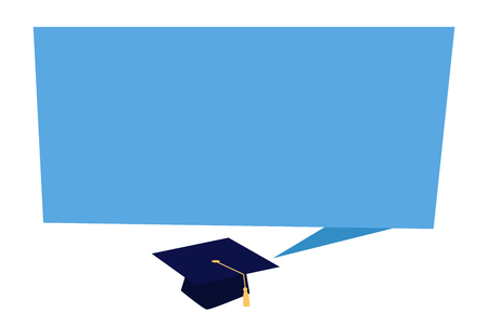 Flat design business Vector Illustration concept template copy space text for Ad website esp isolated 3d isometric. Blank Rectangular Speech Bubble Tail pointing to Graduation Cap with Tassel