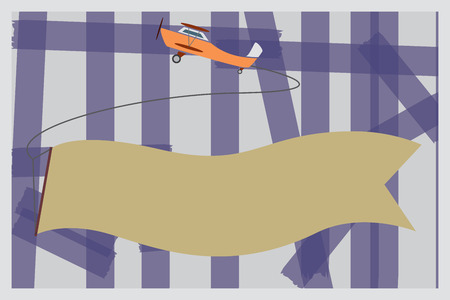 Flat design business Vector Illustration Empty template esp isolated Minimalist graphic layout template for advertising. Flying Propel Plane Pulling a Blank Long Banner Strip for advertisement