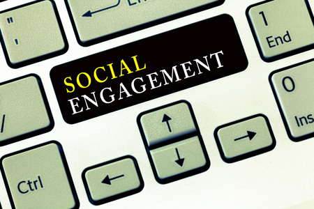 Writing note showing Social Engagement. Business photo showcasing Degree of engagement in an online community or society.