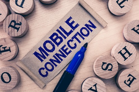 Word writing text Mobile Connection. Business concept for Secure universal login solution using mobile phone.