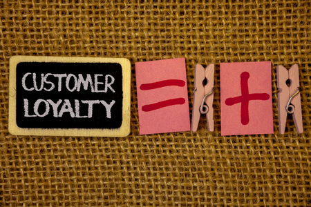 Writing note showing  Customer Loyalty. Business photo showcasing Client Satisfaction Long-Term relation Confidence Ideas on blackboard chalk letters equal plus signs cloth pins wicker