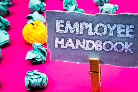 Writing note showing Employee Handbook. Business photo showcasing Document Manual Regulations Rules Guidebook Policy Code Words torn paper wooden clip pink background crumbled yellow blue note Stock Photo