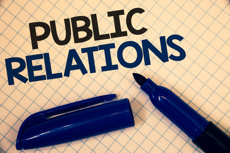 Handwriting text writing Public Relations. Concept meaning Communication Media People Information Publicity Social Text two Words written paper open blue marker cap message letter school Banco de Imagens