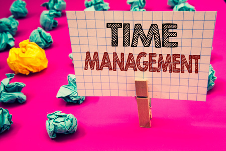 Writing note showing Time Management. Business photo showcasing Schedule Planned for Job Efficiency Meeting Deadlines Clothespin hold holding white paper black red letters crumpled papers