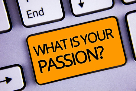 Word writing text WhatS Your Passion Question. Business concept for asking someone about his dreams and hopes Silvery keyboard yellow button two arrow key have endless opportunity