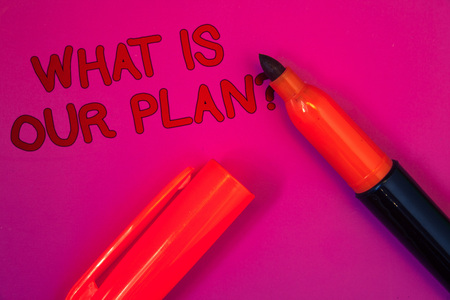 Conceptual hand writing showing What Is Our Plan Question. Business photo text Mission Purpose Agenda Strategize Brainstorming Magenta color platform dark red color tidings corner red marker
