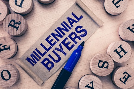 Word writing text Millennial Buyers. Business concept for Type of consumers that are interested in trending products.