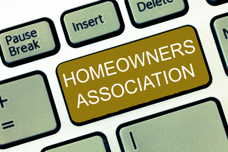 Conceptual hand writing showing Homeowners Association. Business photo showcasing Organization with fee for upkeeps of Gated Community.