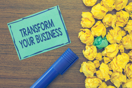 Text sign showing Transform Your Business. Conceptual photo Modify energy on innovation and sustainable growth. Stok Fotoğraf