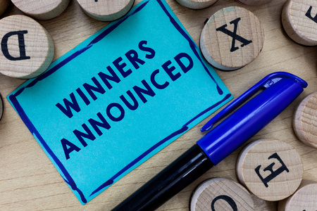 Conceptual hand writing showing Winners Announced. Business photo text Announcing who won the contest or any competition.