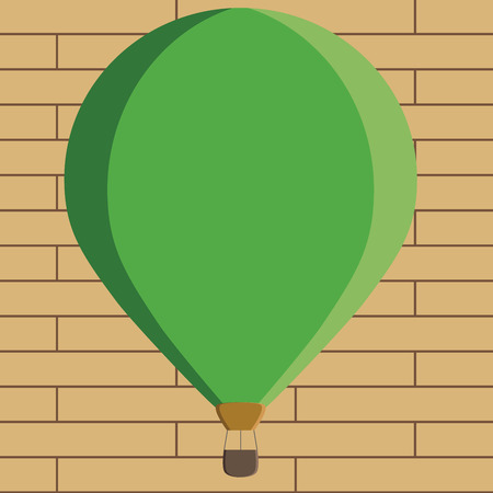 Flat design business Vector Illustration Empty copy space for Ad website promotion esp isolated Banner template. Three toned Color Hot Air Balloon afloat with Basket Tied Hanging under it