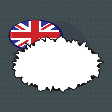 Flat design business Vector Illustration Empty copy space for Ad website promotion esp isolated Banner template. United Kingdom UK Flag in Oval form behind Blank Crooked Speech Bubble
