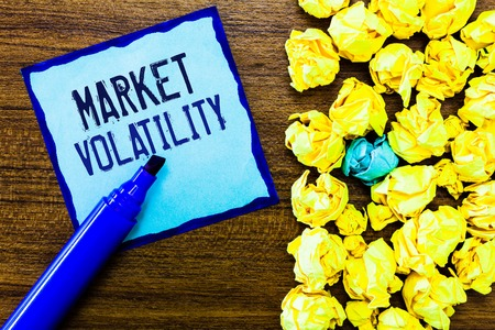 Writing note showing Market Volatility. Business photo showcasing Underlying securities prices fluctuates Stability status.