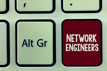 Writing note showing Network Engineers. Business photo showcasing Technology professional Skilled in computer system.