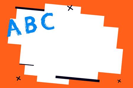 フラットデザイン ベクター イラスト 空 esp テンプレート コピー テキスト広告、 プロモーション、 ポスター、 チラシ、 ウェブバナー、 記事。架空の傾斜面に立つ大文字 A B C のアルファベット文字