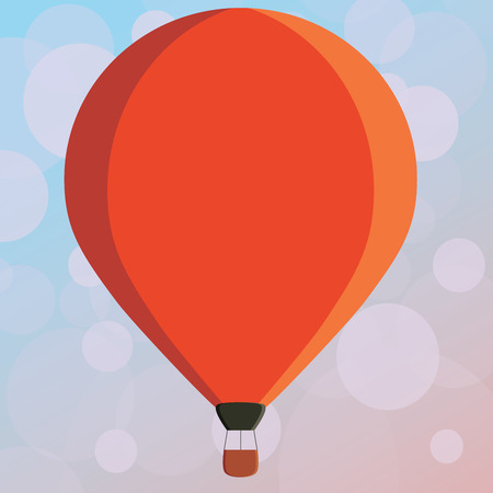 Flat design business Vector Illustration concept copy text for esp Web banners promotional material mock up template. Three toned Color Hot Air Balloon afloat with Basket Tied Hanging under it