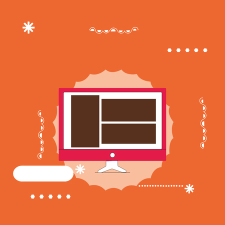 Flat design business Vector Illustration Empty copy space for Ad website promotion esp isolated Banner template. Website Page Layout on Computer Monitor Screen Mounted Hardware Device Illustration