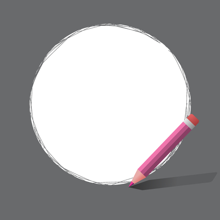 Flat design business Vector Illustration concept Empty template copy space Posters coupons promotional material. Freehand Scribbling of circular lines Using Pencil on White Solid Circle