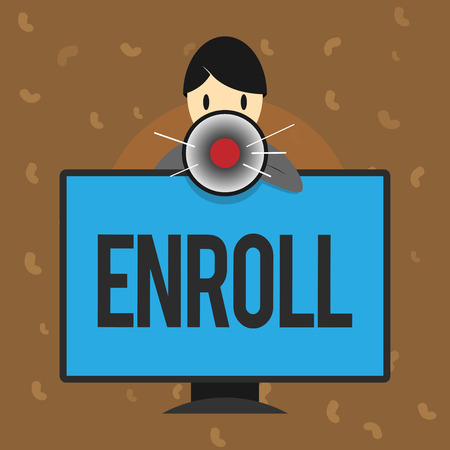 Conceptual hand writing showing Enroll. Business photo text officially register as member of institution or student on course.