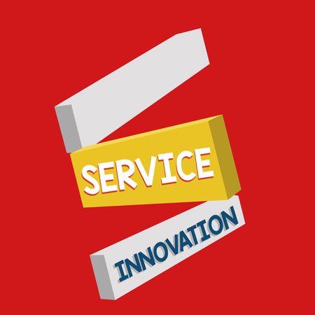 Writing note showing Service Innovation. Business photo showcasing Improved Product Line Services Introduce upcoming trend.