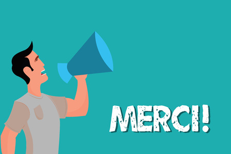 A vector man with megaphone and word Merci.