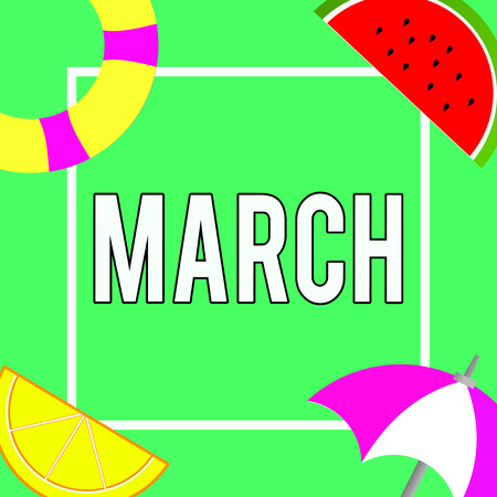 Conceptual hand writing showing March. Business photo showcasing third month year where spring begins Walk quickly with determination. Stock Photo