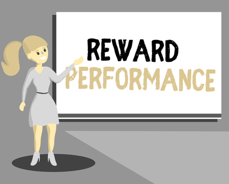 Conceptual hand writing showing Reward Performance. Business photo text Appraisal Recognize workers Relative Worth to the company. Stock Photo