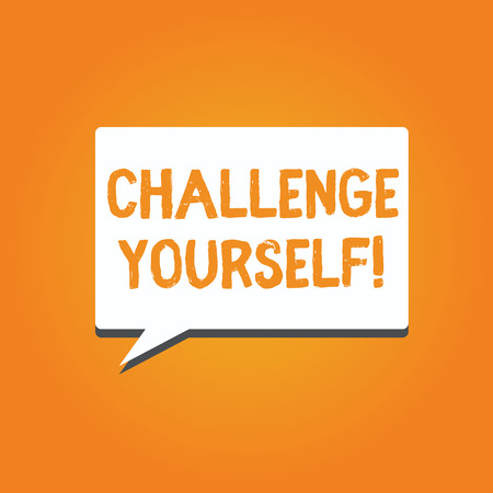 Word writing text Challenge Yourself. Business concept for Setting Higher Standards Aim for the Impossible. Stock fotó