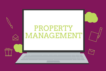 Handwriting text writing Property Management. Concept meaning Overseeing of Real Estate Preserved value of Facility.