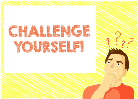 Word writing text Challenge Yourself. Business concept for Setting Higher Standards Aim for the Impossible. Stock Photo